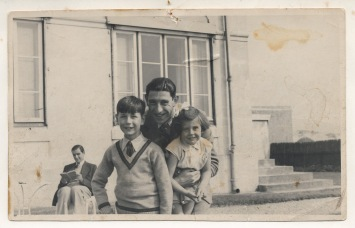 with his father & sister, 1930s