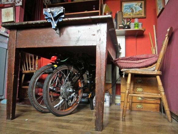 Bike under my kitchen table