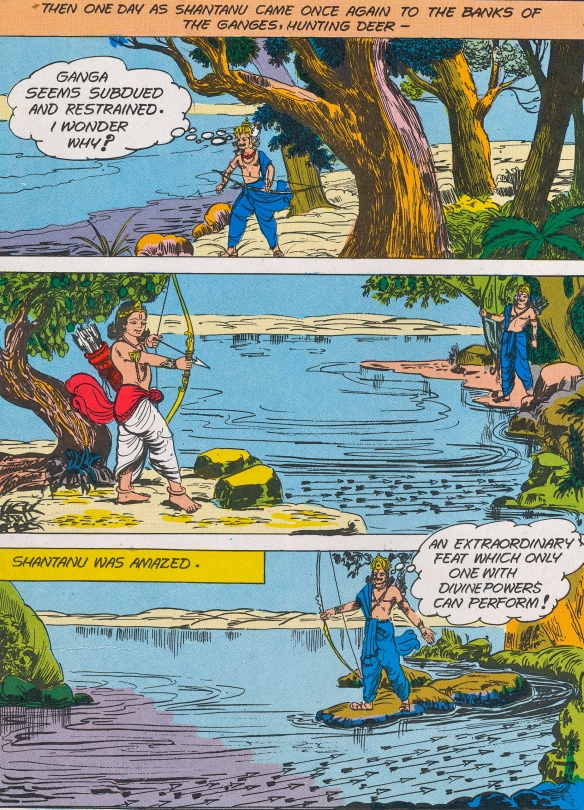 Visual reference - the young Bheeshma holds back the Ganga with a mesh of arrows.  From an excellent book of strip-cartoons on Indian mythology which Rohit sent to me for imagery and ideas