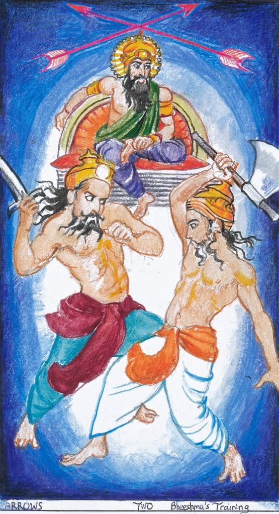 Sacred India Tarot, 2 of Arrows - Bheeshma's training