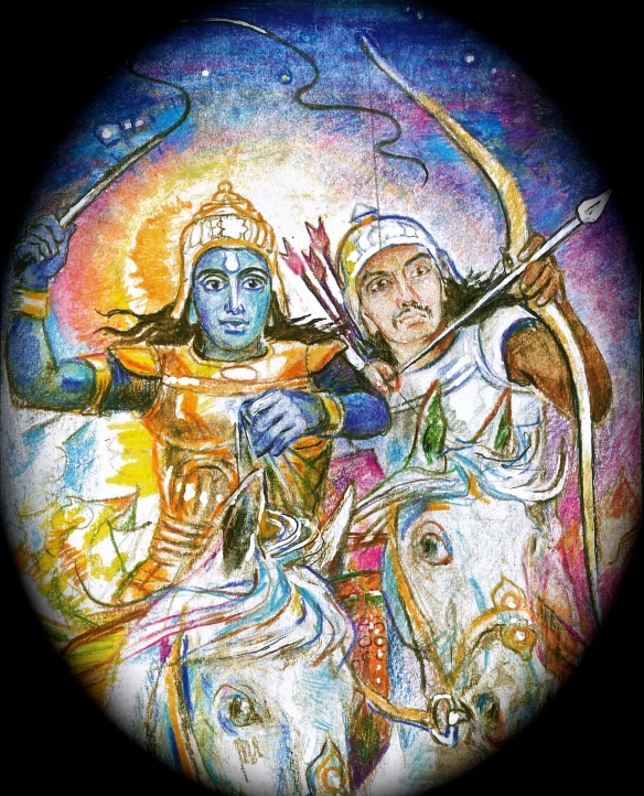 Krishna drives the chariot:  Arjuna aims the arrow - detail from Sacred India Tarot Arcanum 7