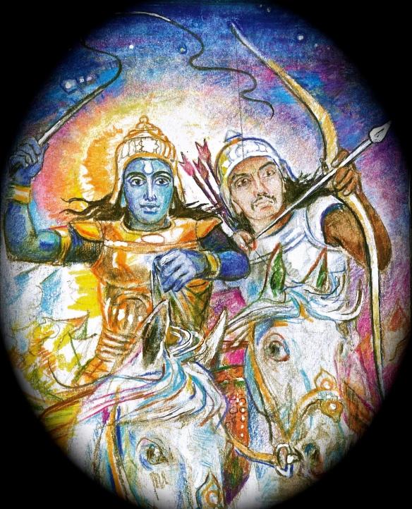 Krishna drives the chariot:  Arjuna aims the arrow - detail from Sacred India Tarot Arcanum 7