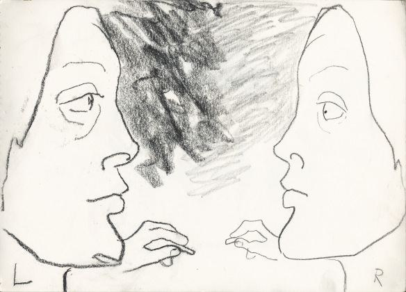 self portrait, left & right hands/brain