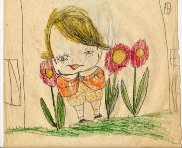 1955 little boy in garden