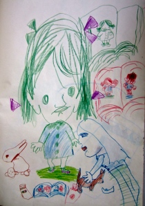 1955 little girl with green hair