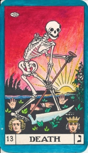 """B.O.T.A.Tarot Key 13.  Death is the movement through Life.  The Hebrew letter NUN assigned to this Key, means """"a fish"""" or even a seed, like the symbol in the top left hand corner.  The ruler is Scorpio - the scorpio-force of alchemy"""