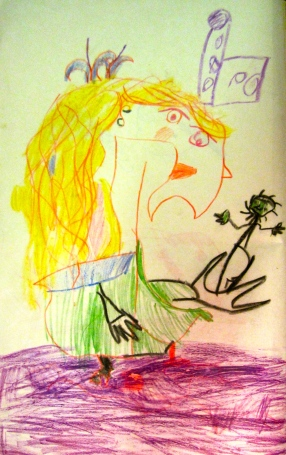 Early drawing, when age 5, inspired by Picasso