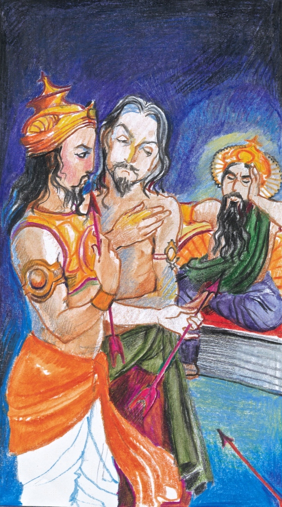"Sacred India Tarot - Three of Arrows - ""The Father's Sorrow"""