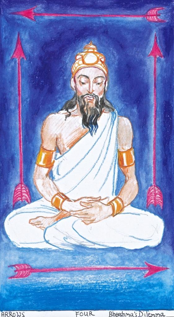 Sacred India Tarot - Four of Arrows - Bheeshma's Dilemma