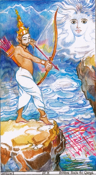 Sacred India Tarot ace of Arrows - Bheeshma blocks the Mother Ganga river