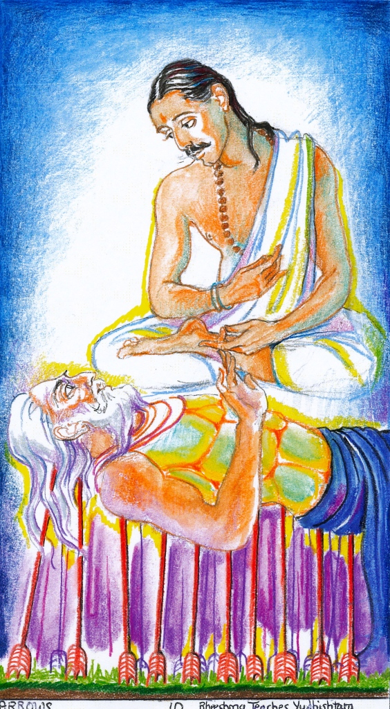 Sacred India Tarot 10 of Arrows - Bheeshma instructs Yudhishtara in the art of government