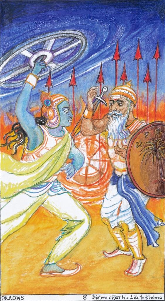 Sacred India Tarot, 8 of Arrows - Bheeshma offers his Life to Krishna