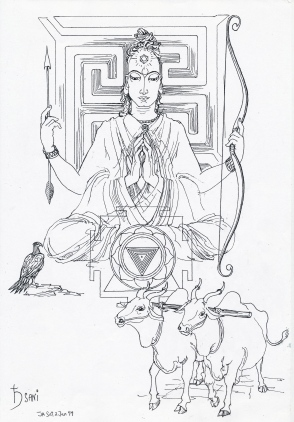 Sani Saturn Jyotish, with oxen and raven