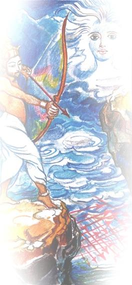 Sacred India Tarot ace of arrows, detail