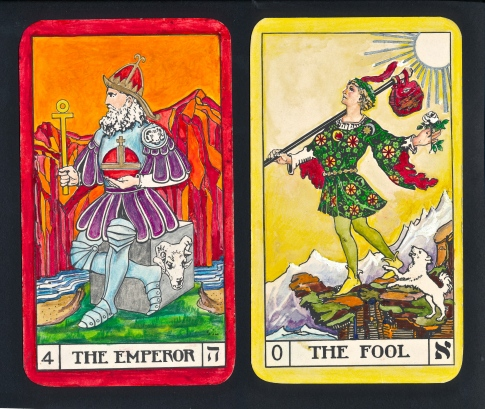 "Uranus (The Fool or Pilgrim) in Aries (The Emperor, or Constitutional intelligence).  This combination is a wake-up call, for Uranus is ""change"" and the Emperor's sign Aries is ""seeing""."