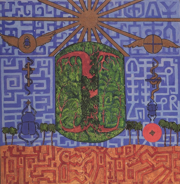 jung's painting in the Red Book of the tree of life (centre), the desert, the serpents and scarab