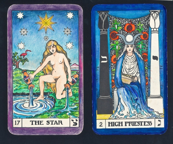 23.4.14, Moon in 13 Aquarius - Tarot Keys 2 and 17:  the Priestess and the Star