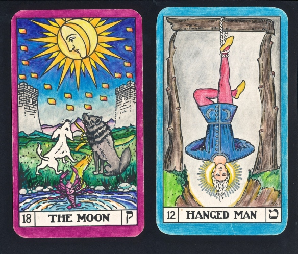 Neptune in Pisces;  Tarot Keys 12 and 18.  This will be the Ascendent here in London when the Grand Cross is in full focus (23 April 4.15 gmt).   On the Tree of Life, this represents Malkuth, the sphere of action, embodiment, materiality, type of birth.