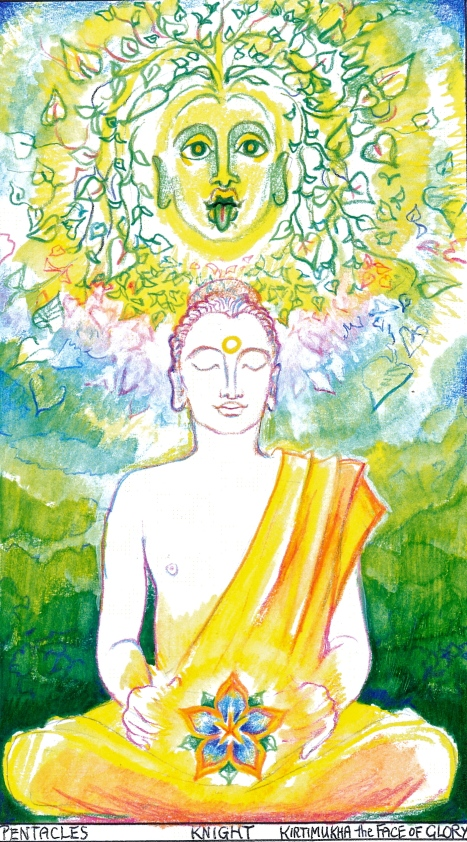 Sacred India Tarot Buddha Knight of Disks:  the Green Man