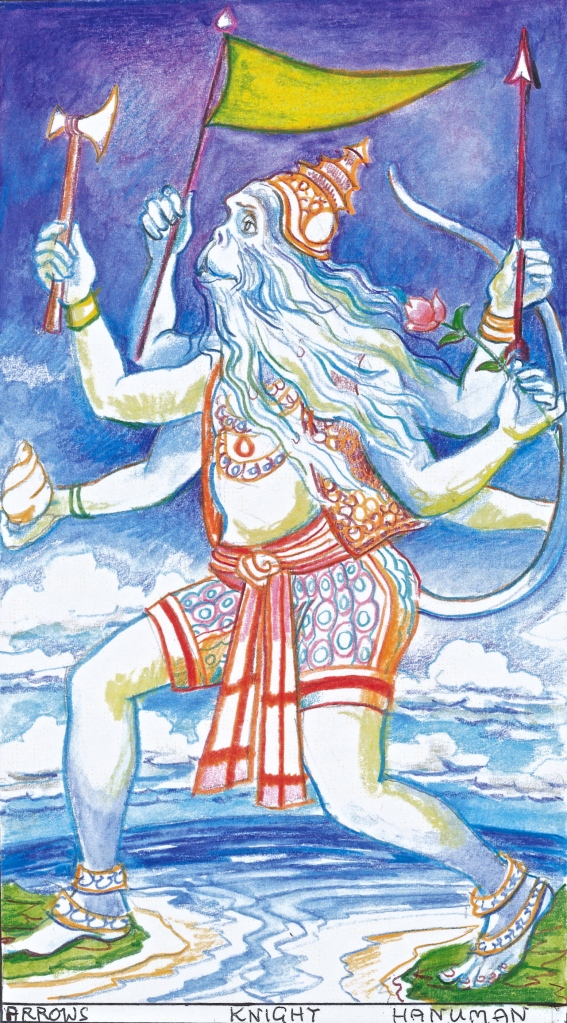 SACRED INDIA TAROT - Knight of Arrows - Hanuman