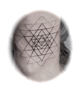 Sri chakra yantra - tattoo'd on someone's wrist