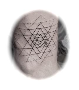 Sri chakra yantra - tattoo'd on someone's wrist