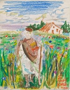 man in flower field