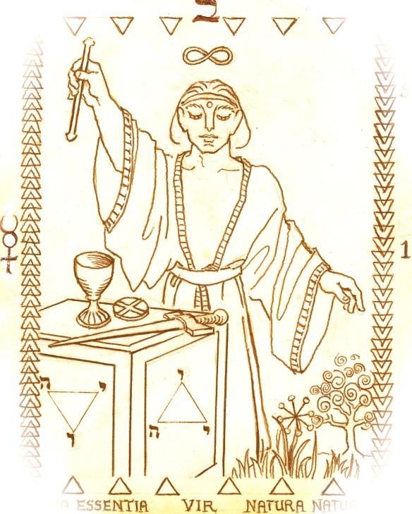 Tarot key 1 - the Magus - belongs here, to open a new Suit - the Suit of Wands.  His is the Intelligence of Transparency.  With the Wand in his right, he conducts the divine current.  His left hand indicates the garden.  In front of him are the tools for the Work.