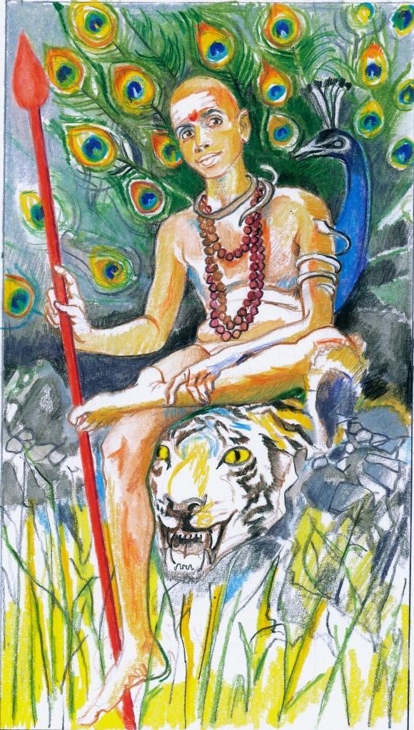 Sacred India Tarot - Ramana as Skanda son of Siva