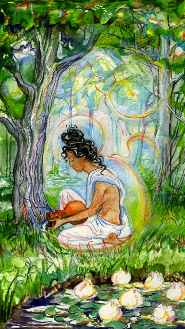 Sacred India Tarot - Parvati waters trees