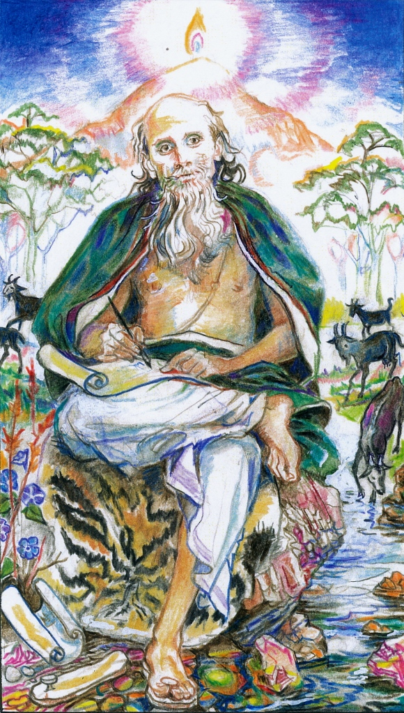 Sacred India Tarot - laws of Manu as the Hierophant - Ganapati the scribe near Arunachala