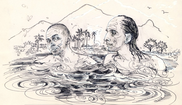 """Ramana and the Muni.  A devotee enquired if it were a fact that they used to swim in Pandava tank.  Bhagavan replied, """"Yes.  That also was only in those days"""" (i.e.the Virupaksha Cave period).  We used to try to excel each other in swimming.  That was great fun."""" (From Suri Nagamma's Letters from Ramanasramam no.59)"""
