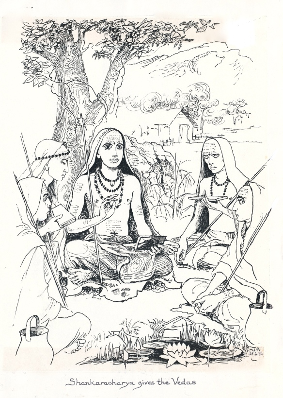shankara gives the vedas copy