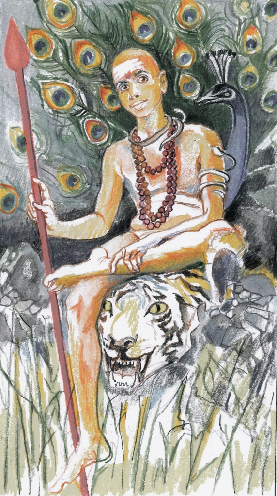 Ramana as Skanda Siva's son - Sacred India Tarot Knight of Staves