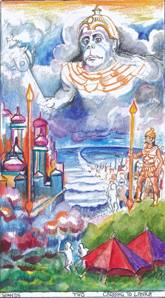 Sacred India Tarot Two of Staves/Wands - the Crossing into Lanka