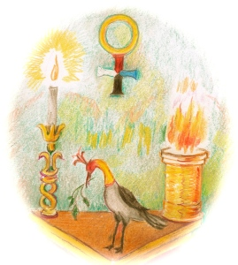 Trinosofia altar, bird, torch 2 - Version 2