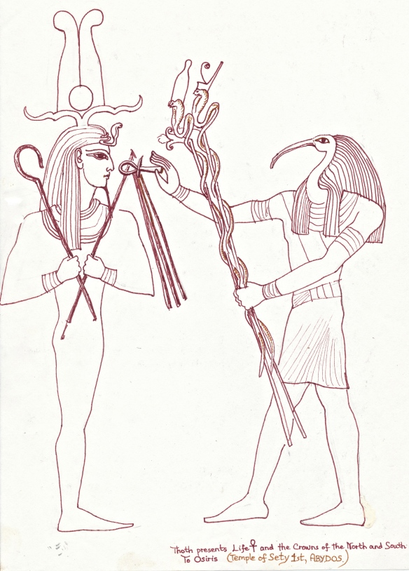 "Osiris and Thoth with ""staves"" of power and life"