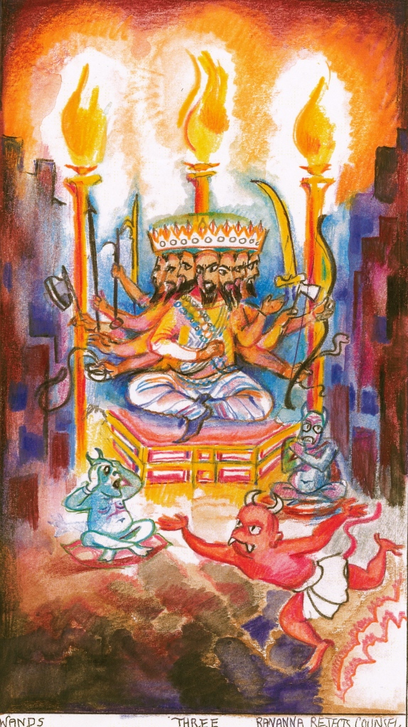 Sacred India Tarot Three of Wands - Ravana rejects counsel