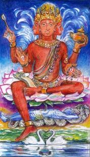 sacred india tarot 4, emperor Brahma