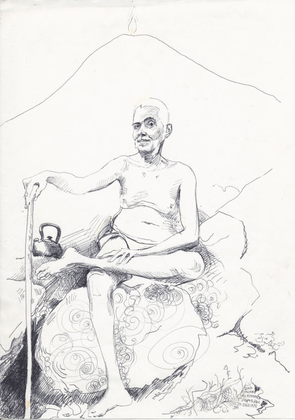 Ramana - my earliest complete sketch of him