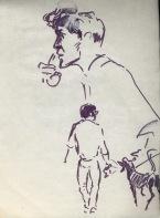 154 pestalozzi sketches - john, david & dog