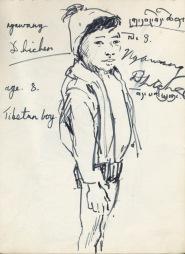 169 pestalozzi sketches - tibetan boy