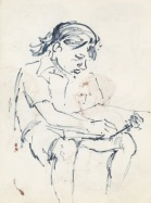 179 pestalozzi sketches - tibetan girl reading