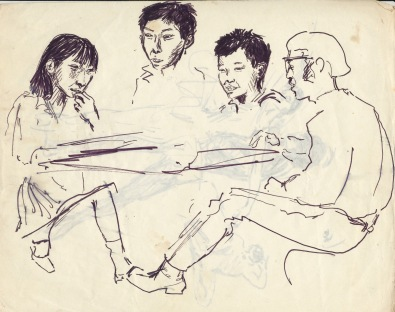 201 pestalozzi sketches - dave with tibetan children