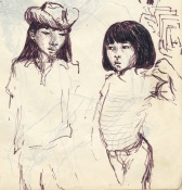248 pestalozzi sketches - tibetan girls