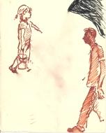 300 Pestalozzi sketches - Mr Mountain & daughter