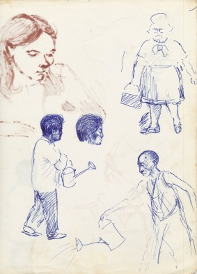332 Pestalozzi sketches - Tibetans & Mrs M