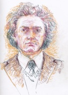 Beethoven 1940s style. It intrigued me to try to sketch him in this way that someone saw him - he put on the costume for a joke. But I lost it! I rubbed it all out and ...