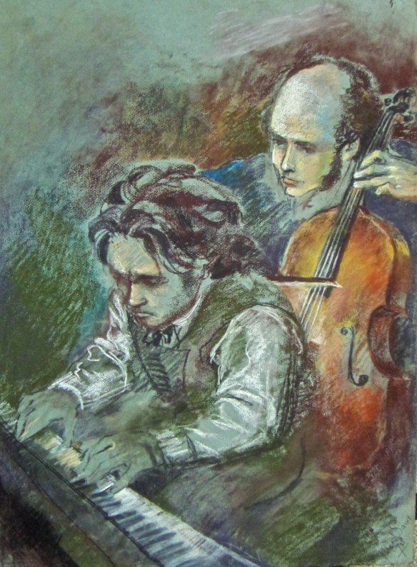 Beethoven and ... Rostropovich?  I found this forgotten early drawing from the 1970s, while searching for the two which I have lost.  I used to find it 'easier' to draw him than I do now!