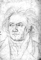 Beethoven, the original by Kloeber. The master liked this drawing, in particular the flowing hair.
